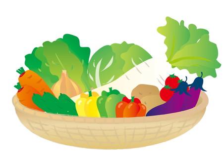 バスケットに入った沢山の野菜