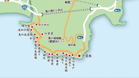 鬼が城 遊歩道マップ