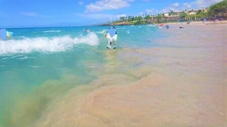 波が押し寄せる
