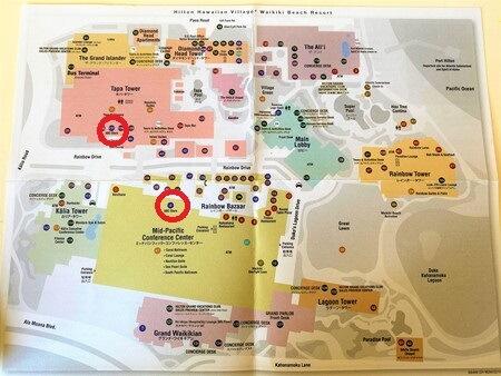 ヒルトンハワイアンビレッジ 地図 ABCマートの場所
